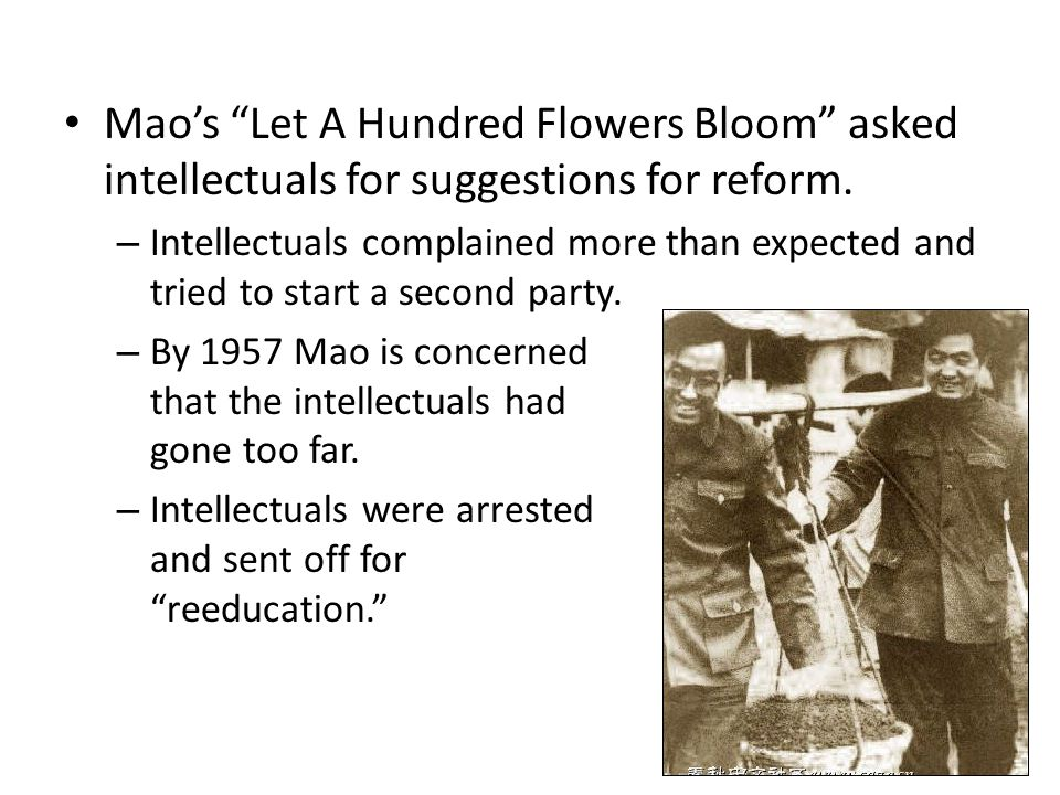 "Mao's ""Let A Hundred Flowers Bloom"" asked intellectuals for suggestions for reform. – Intellectuals complained more than expected and tried to start a"