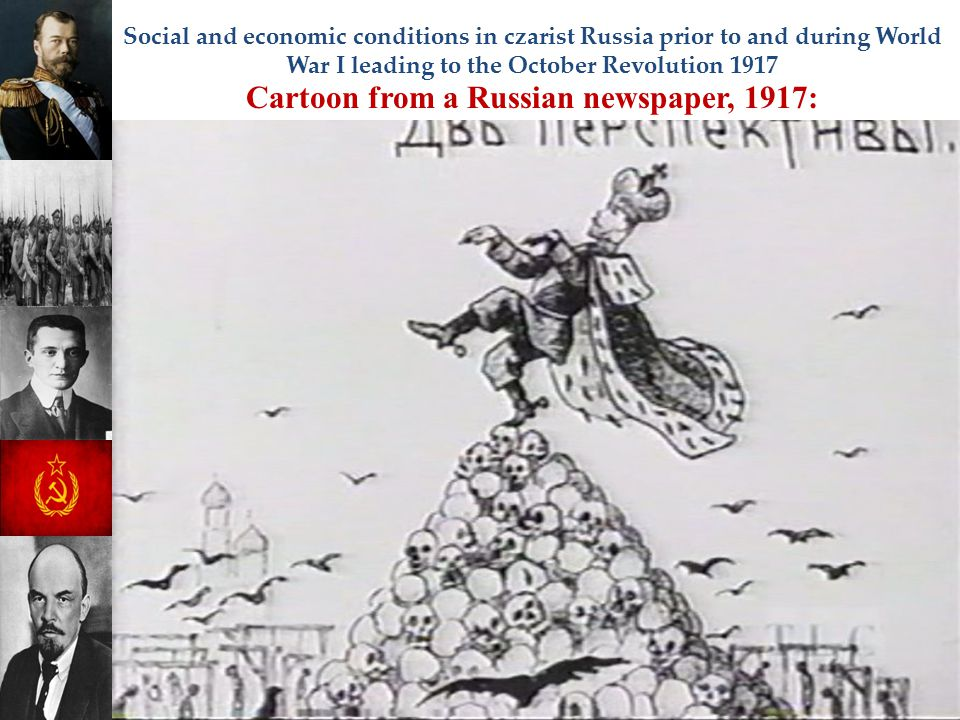 Social and economic conditions in czarist Russia prior to and during World War I leading to the October Revolution 1917 Cartoon from a Russian newspap