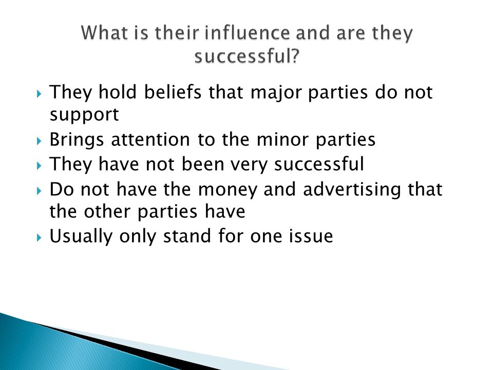  They hold beliefs that major parties do not support  Brings attention to the minor parties  They have not been very successful  Do not have the money and advertising that the other parties have  Usually only stand for one issue