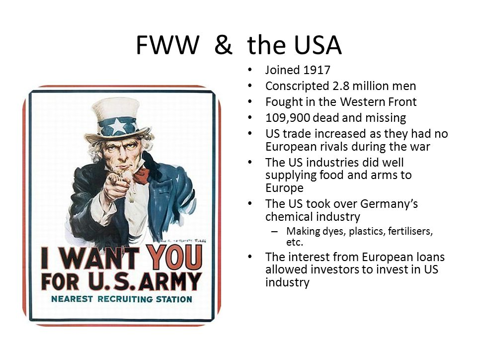 What impact did the FWW have on the USA FWW MENMONEYATTITUDESPOLITICS
