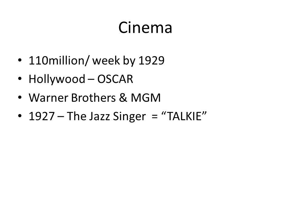 Cinema 110million/ week by 1929 Hollywood – OSCAR Warner Brothers & MGM 1927 – The Jazz Singer = TALKIE