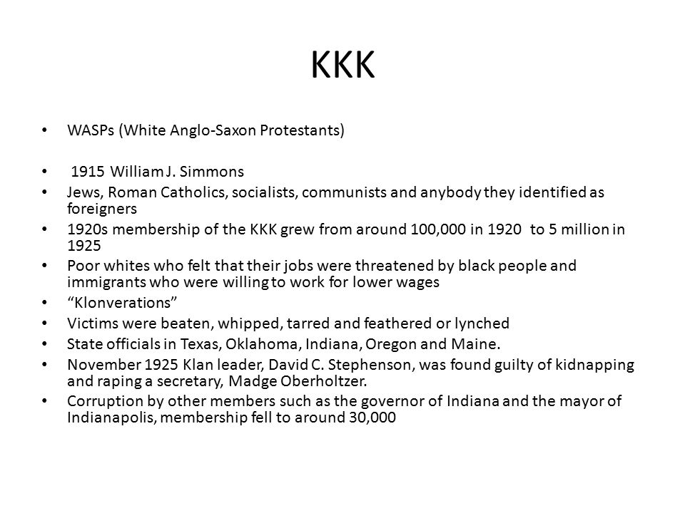 The Origins of the KKK WHEN WHO WHAT WHY HOW