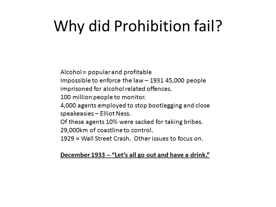 Explain the effects of prohibition on American society.