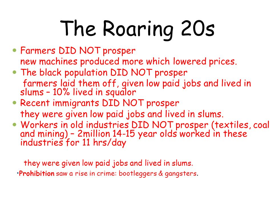 The Roaring 20s - RECAP 1.(Rep) Government policy of laissez faire.