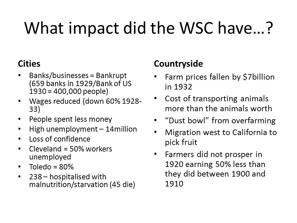 Effects of the WSC