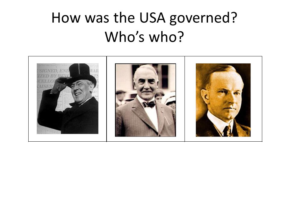 How was the USA governed. Who's who. TASK: Use your textbook to explain how the USA was governed.