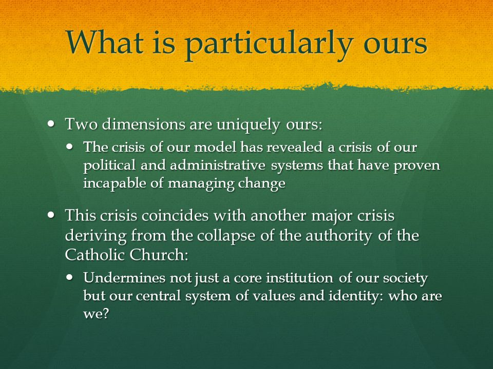 What is particularly ours Two dimensions are uniquely ours: Two dimensions are uniquely ours: The crisis of our model has revealed a crisis of our pol