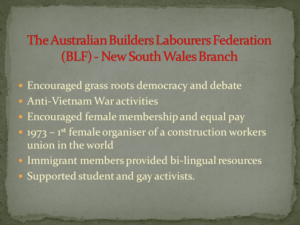 Encouraged grass roots democracy and debate Anti-Vietnam War activities Encouraged female membership and equal pay 1973 – 1 st female organiser of a c