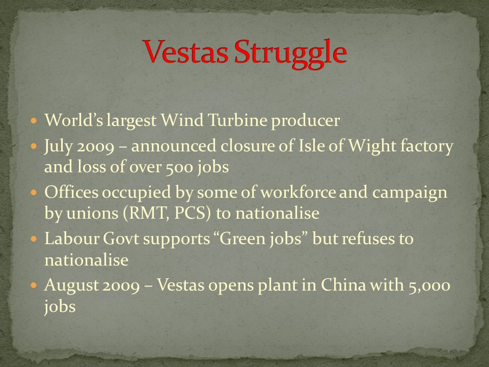 World's largest Wind Turbine producer July 2009 – announced closure of Isle of Wight factory and loss of over 500 jobs Offices occupied by some of wor