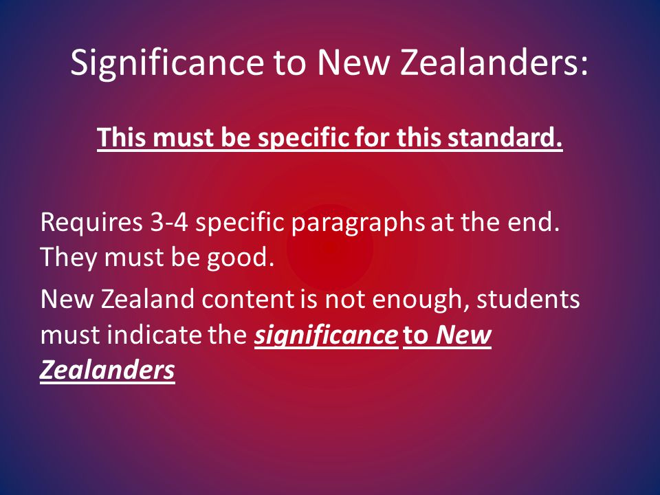 Significance to New Zealanders: This must be specific for this standard. Requires 3-4 specific paragraphs at the end. They must be good. New Zealand c