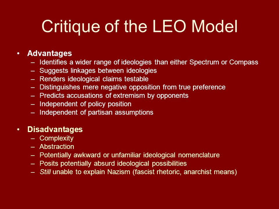 Critique of the LEO Model Advantages –Identifies a wider range of ideologies than either Spectrum or Compass –Suggests linkages between ideologies –Renders ideological claims testable –Distinguishes mere negative opposition from true preference –Predicts accusations of extremism by opponents –Independent of policy position –Independent of partisan assumptions Disadvantages –Complexity –Abstraction –Potentially awkward or unfamiliar ideological nomenclature –Posits potentially absurd ideological possibilities –Still unable to explain Nazism (fascist rhetoric, anarchist means)