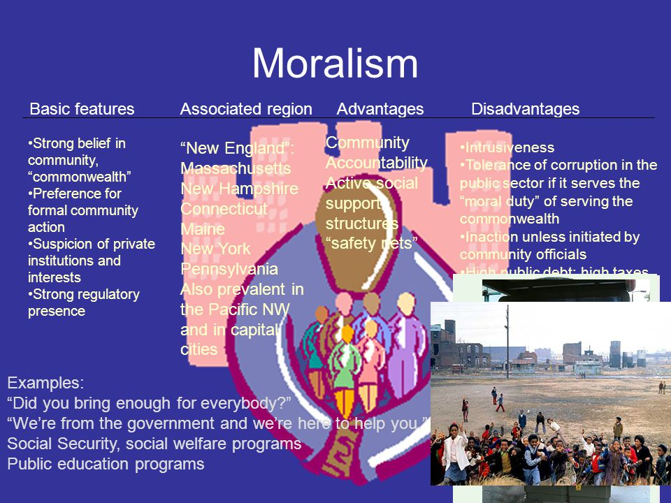 Moralism Basic featuresAssociated regionAdvantagesDisadvantages Strong belief in community, commonwealth Preference for formal community action Suspicion of private institutions and interests Strong regulatory presence New England : Massachusetts New Hampshire Connecticut Maine New York Pennsylvania Also prevalent in the Pacific NW and in capital cities Community Accountability Active social support structures safety nets Intrusiveness Tolerance of corruption in the public sector if it serves the moral duty of serving the commonwealth Inaction unless initiated by community officials High public debt; high taxes Examples: Did you bring enough for everybody We're from the government and we're here to help you. Social Security, social welfare programs Public education programs