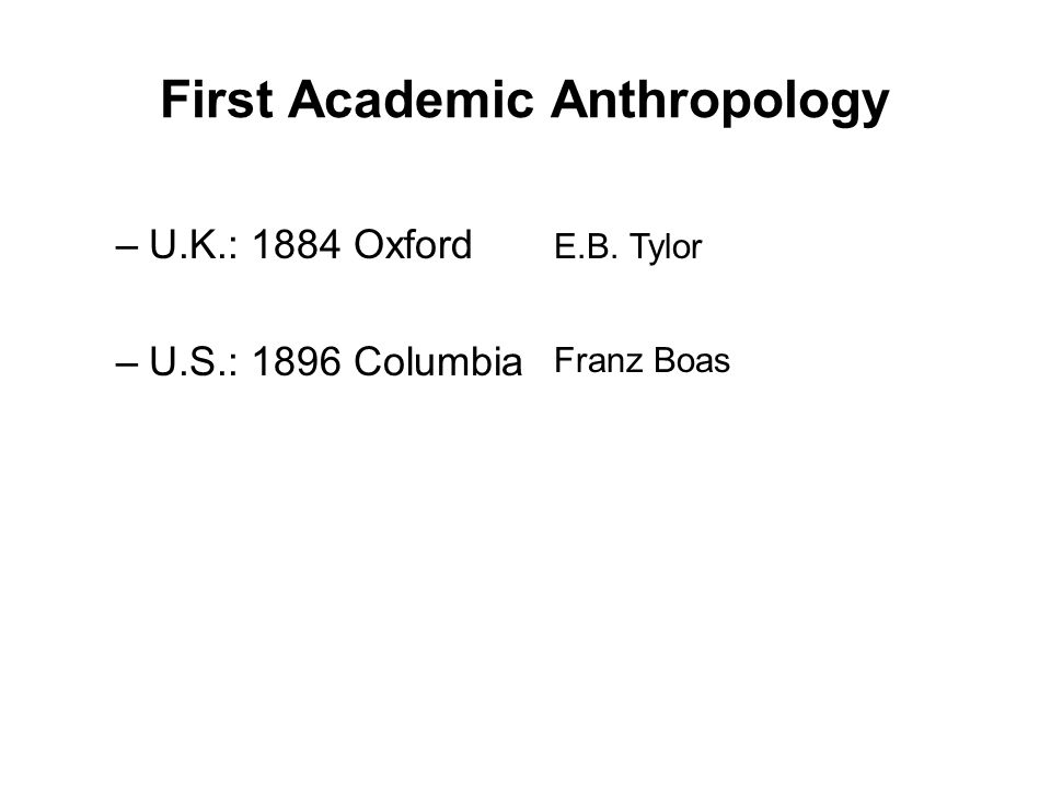 First Academic Anthropology –U.K.: 1884 Oxford –U.S.: 1896 Columbia E.B. Tylor Franz Boas