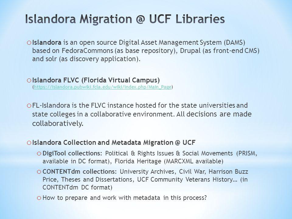 o Online ingest: choose content model and metadata form in Islandora GUI.
