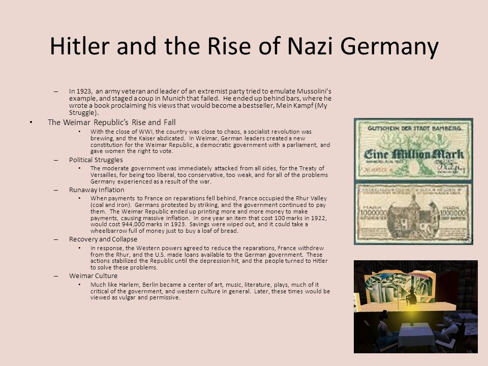 Hitler and the Rise of Nazi Germany – In 1923, an army veteran and leader of an extremist party tried to emulate Mussolini's example, and staged a cou