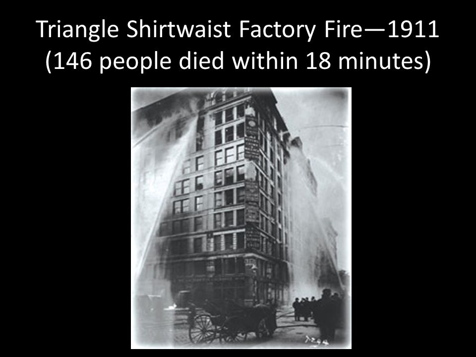 Triangle Shirtwaist Factory Fire—1911 (146 people died within 18 minutes)