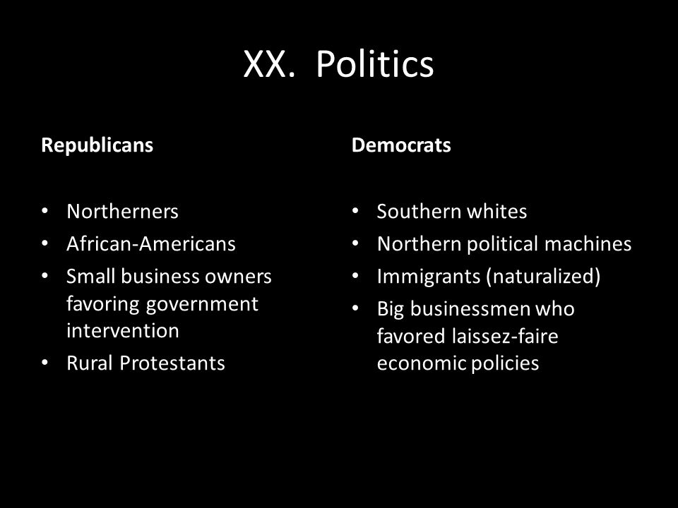 XX. Politics Republicans Northerners African-Americans Small business owners favoring government intervention Rural Protestants Democrats Southern whi