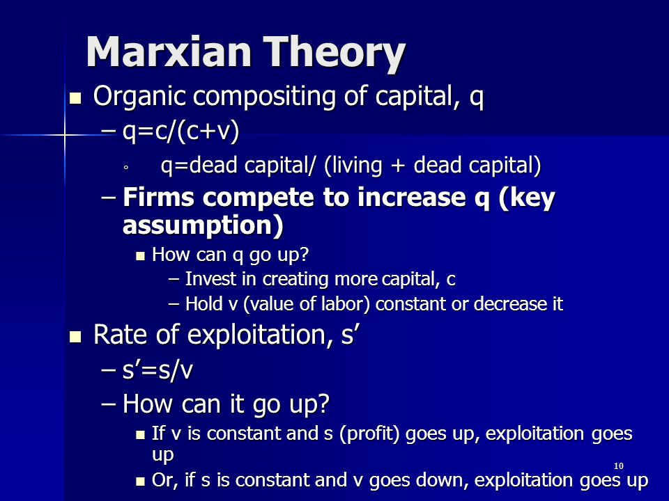 Marxian Theory Organic compositing of capital, q Organic compositing of capital, q –q=c/(c+v) ◦ q=dead capital/ (living + dead capital) –Firms compete to increase q (key assumption) How can q go up.
