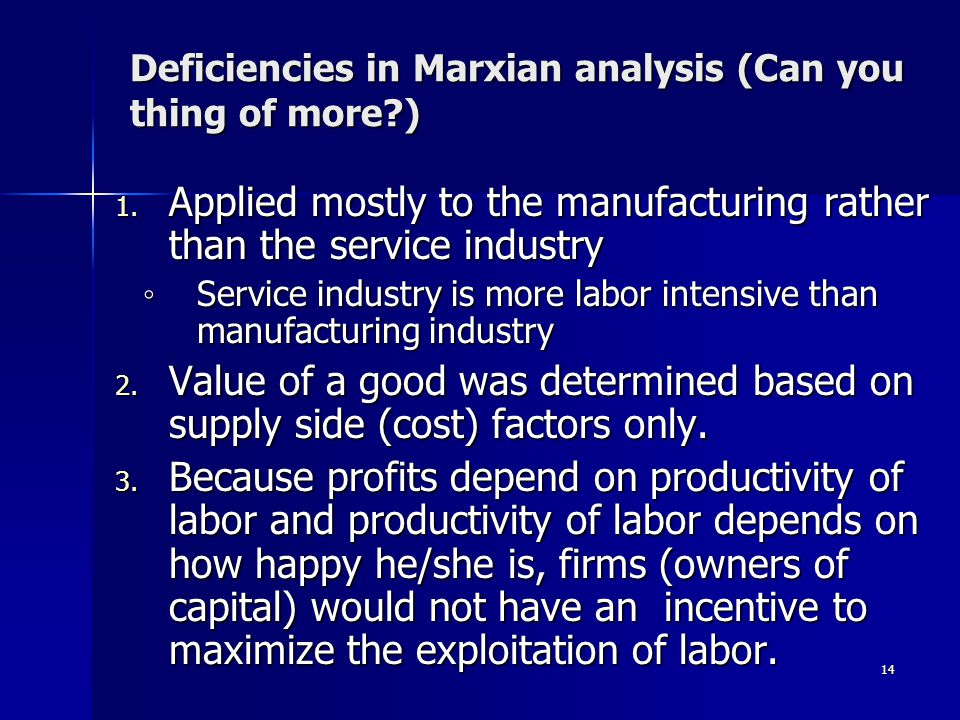 Deficiencies in Marxian analysis (Can you thing of more ) 1.