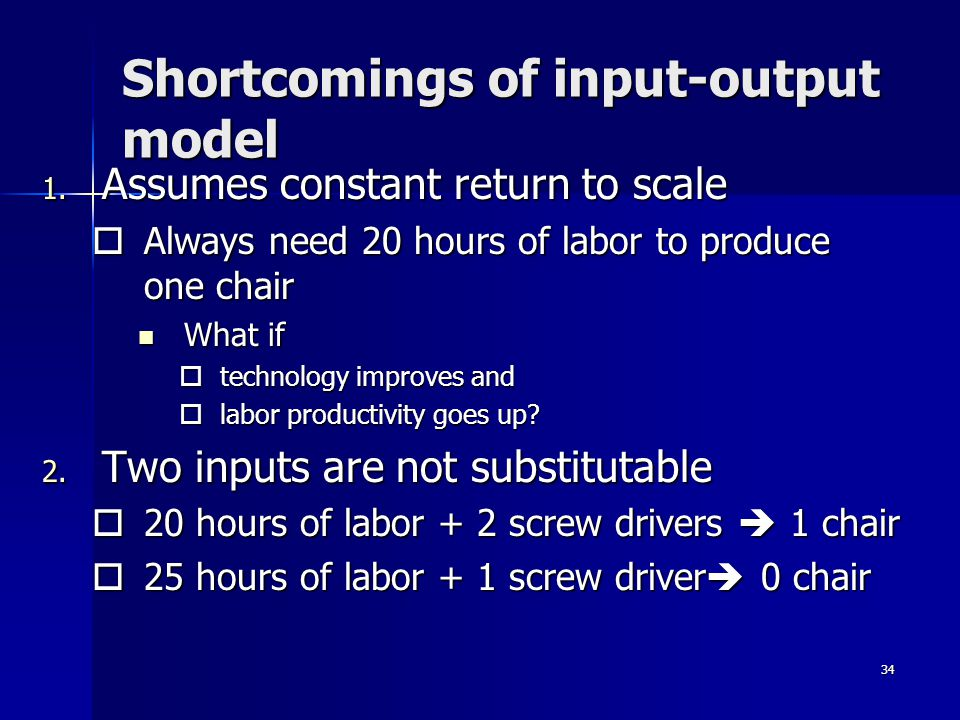 34 Shortcomings of input-output model 1.