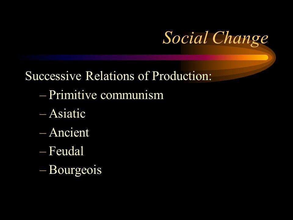 Social Change Successive Relations of Production: –Primitive communism –Asiatic –Ancient –Feudal –Bourgeois