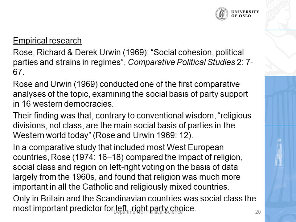 """Empirical research Rose, Richard & Derek Urwin (1969): """"Social cohesion, political parties and strains in regimes"""", Comparative Political Studies 2: 7"""