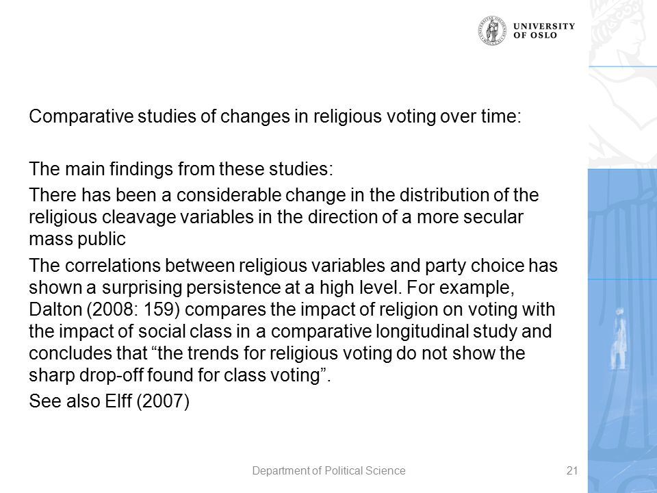 Comparative studies of changes in religious voting over time: The main findings from these studies: There has been a considerable change in the distri