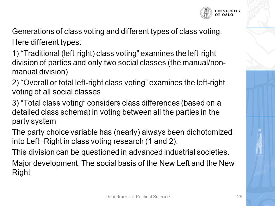 """Generations of class voting and different types of class voting: Here different types: 1) """"Traditional (left-right) class voting"""" examines the left-ri"""