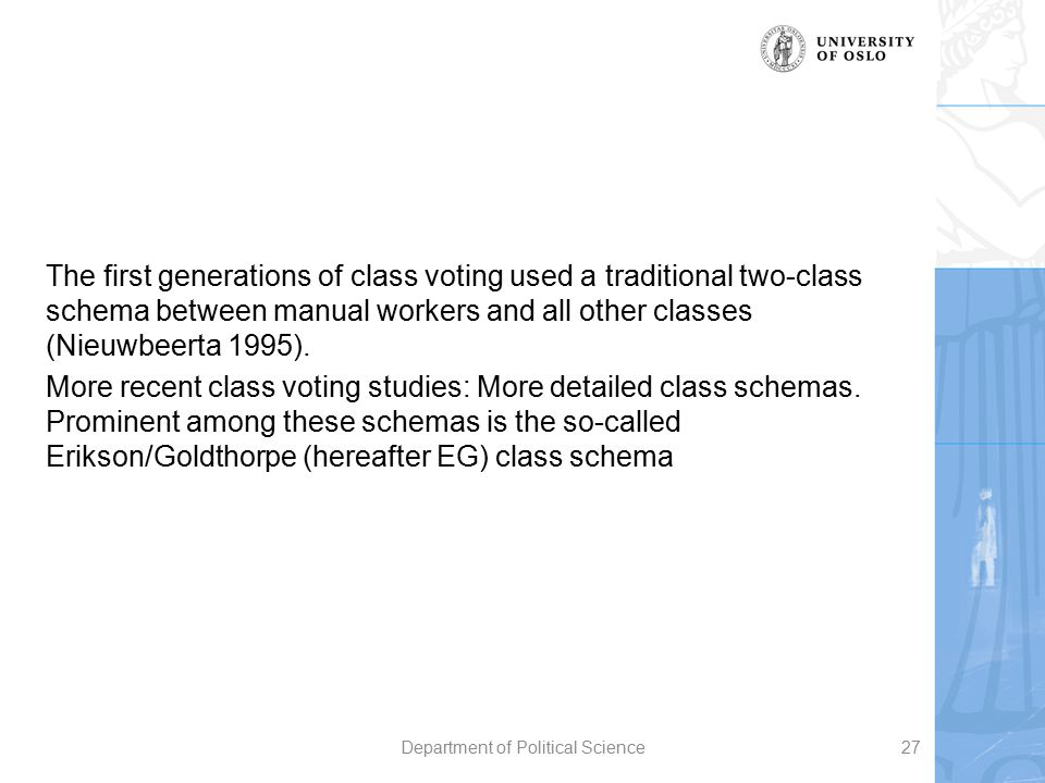 The first generations of class voting used a traditional two-class schema between manual workers and all other classes (Nieuwbeerta 1995). More recent