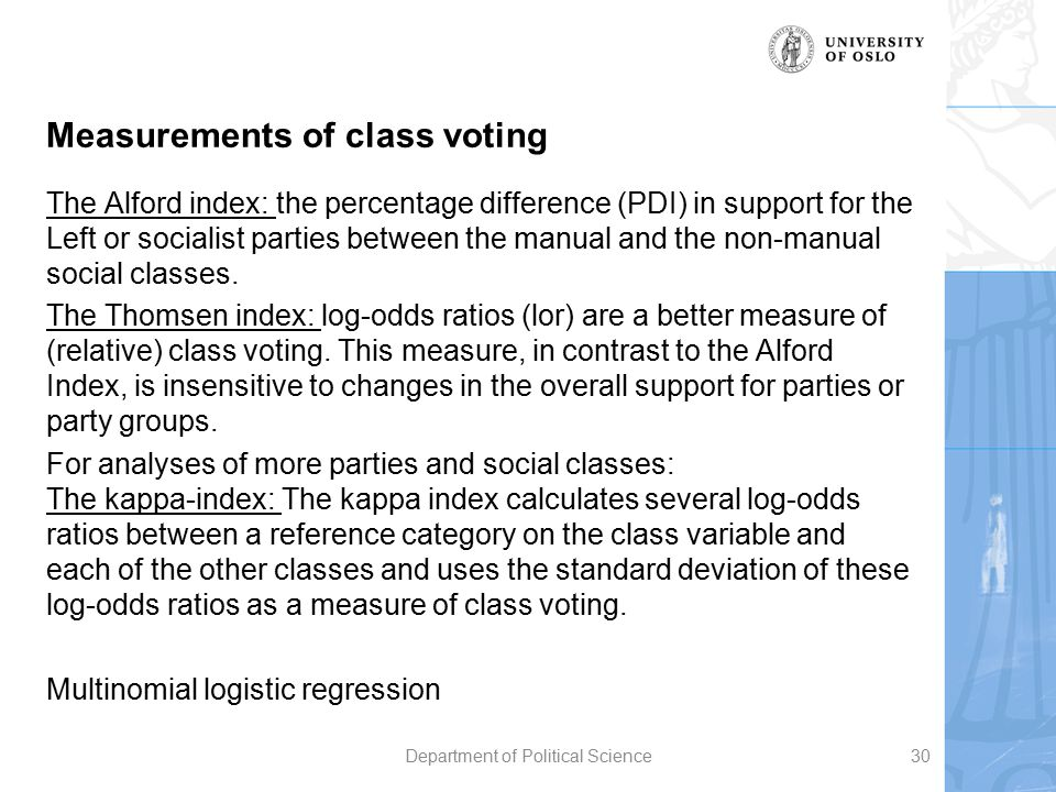 Measurements of class voting The Alford index: the percentage difference (PDI) in support for the Left or socialist parties between the manual and the