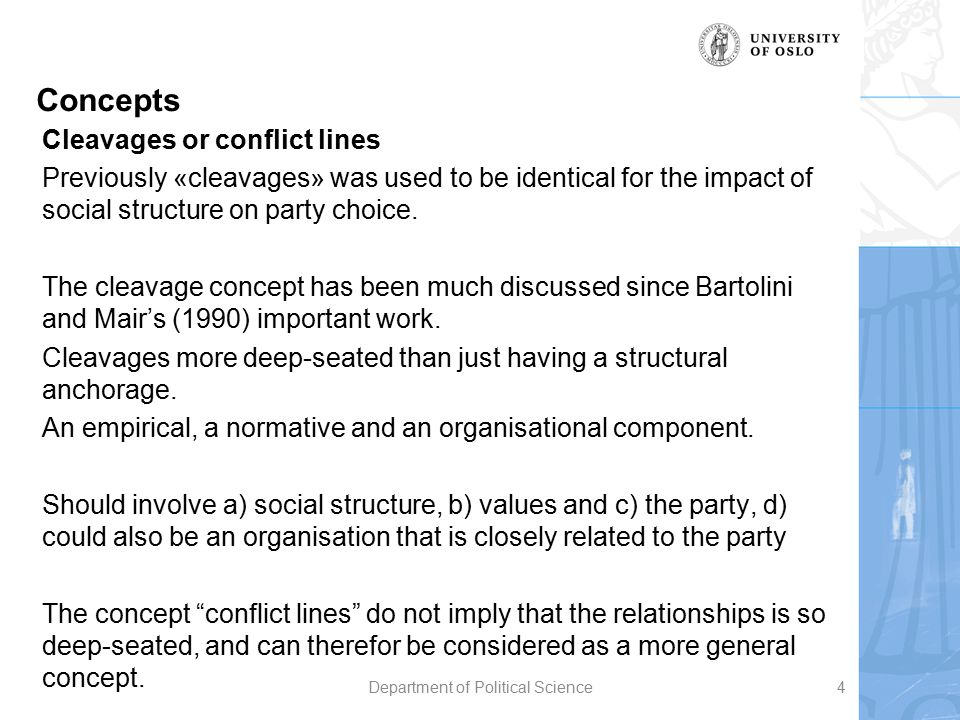 Concepts Cleavages or conflict lines Previously «cleavages» was used to be identical for the impact of social structure on party choice. The cleavage