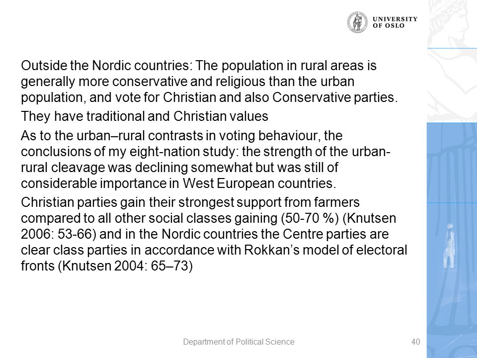 Outside the Nordic countries: The population in rural areas is generally more conservative and religious than the urban population, and vote for Chris