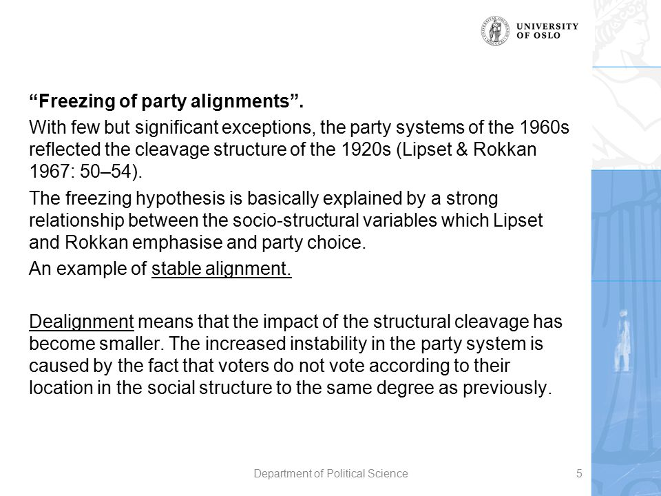 """""""Freezing of party alignments"""". With few but significant exceptions, the party systems of the 1960s reflected the cleavage structure of the 1920s (Lip"""