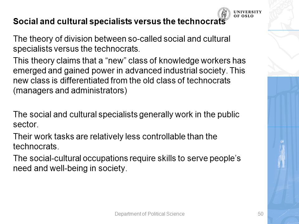 Social and cultural specialists versus the technocrats The theory of division between so-called social and cultural specialists versus the technocrats