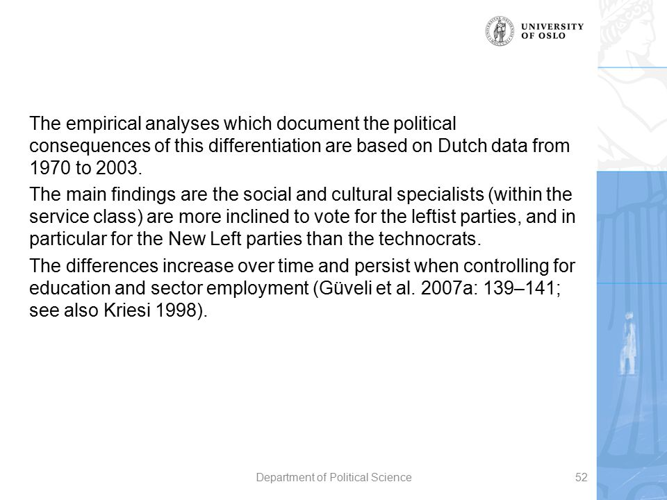 The empirical analyses which document the political consequences of this differentiation are based on Dutch data from 1970 to 2003. The main findings