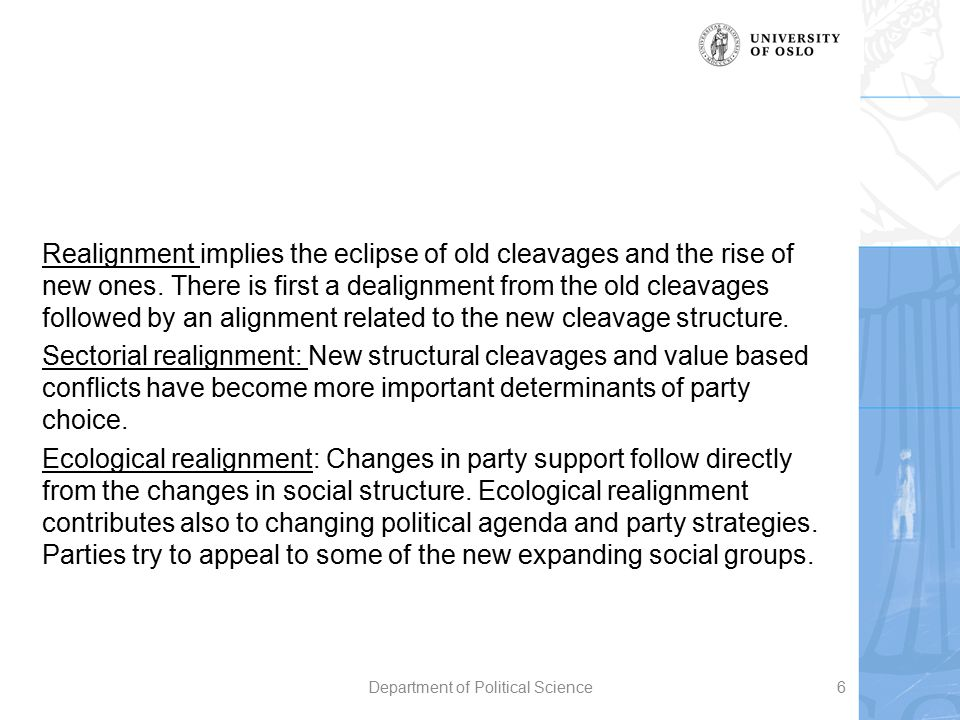 Realignment implies the eclipse of old cleavages and the rise of new ones. There is first a dealignment from the old cleavages followed by an alignmen