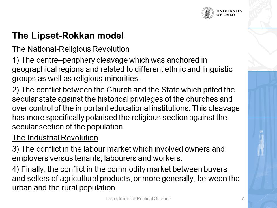 The Lipset-Rokkan model The National-Religious Revolution 1) The centre–periphery cleavage which was anchored in geographical regions and related to d