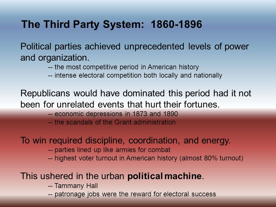 The Third Party System: 1860-1896 Political parties achieved unprecedented levels of power and organization.
