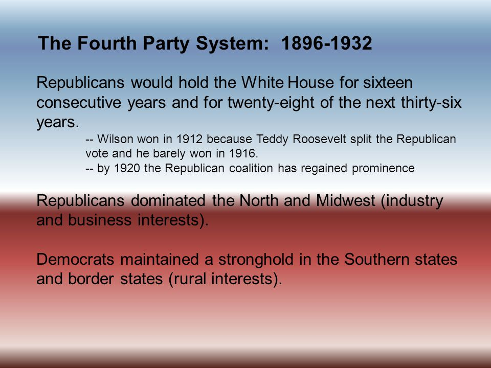 The Fourth Party System: 1896-1932 The election of 1896 was a realigning election.