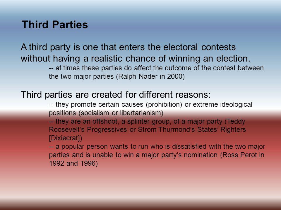 Party Platforms The Democratic National Committee (DNC) and the Republican National Committee (RNC) are responsible for producing party platforms, statements of party principles and issue positions.