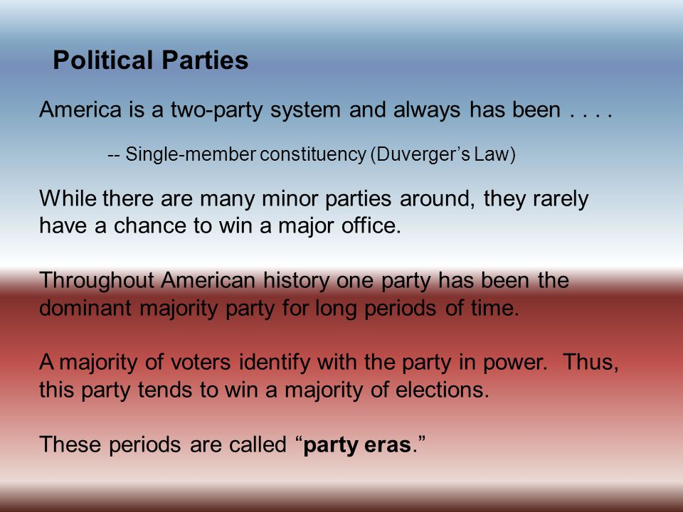Political Parties A political party is a group organized to nominate candidates, to try to win political power through elections, and to promote ideas about public policy.