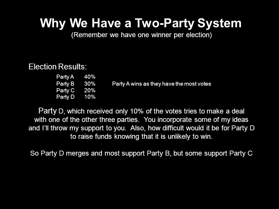 Third Parties Third parties often bring new groups into the electorate and serve as safety valves for discontent.