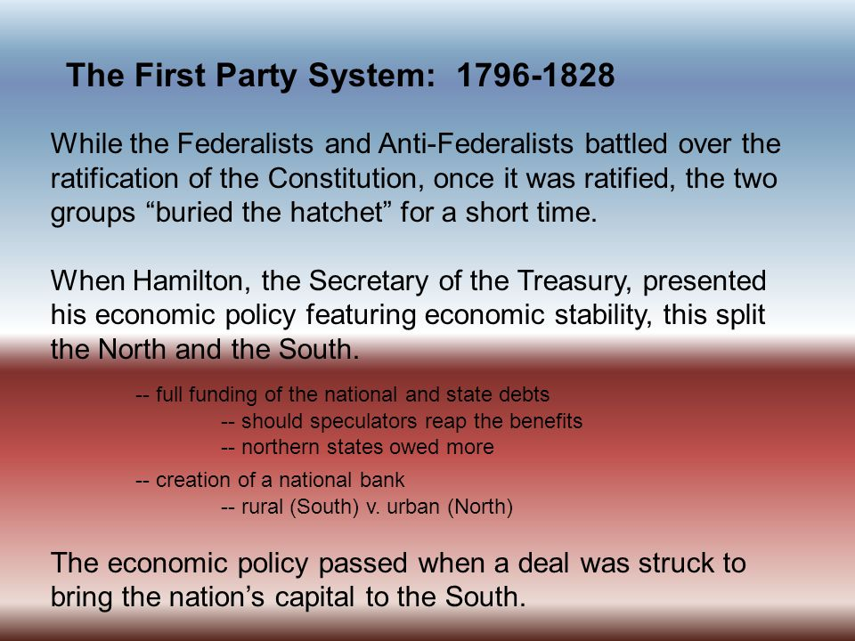 The First Party System: 1796-1828 Ironically, many of our early political leaders were initially opposed to political parties, but later realized that there was a need to organize those who shared their views.