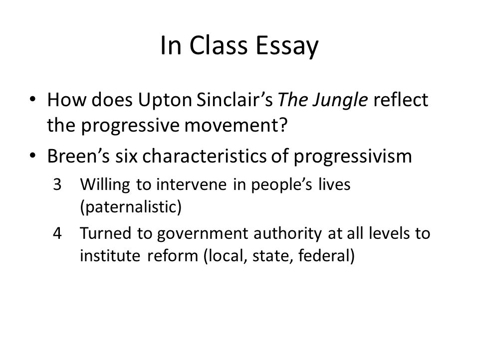 In Class Essay How does Upton Sinclair's The Jungle reflect the progressive movement.
