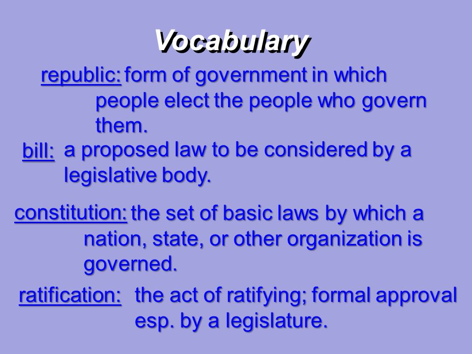 republic: form of government in which people elect the people who govern them. form of government in which people elect the people who govern them. Vo