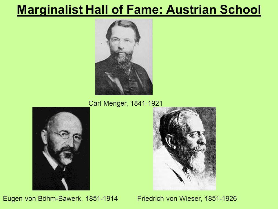 Marginalist Hall of Fame: Austrian School Carl Menger, 1841-1921 Eugen von Böhm-Bawerk, 1851-1914Friedrich von Wieser, 1851-1926