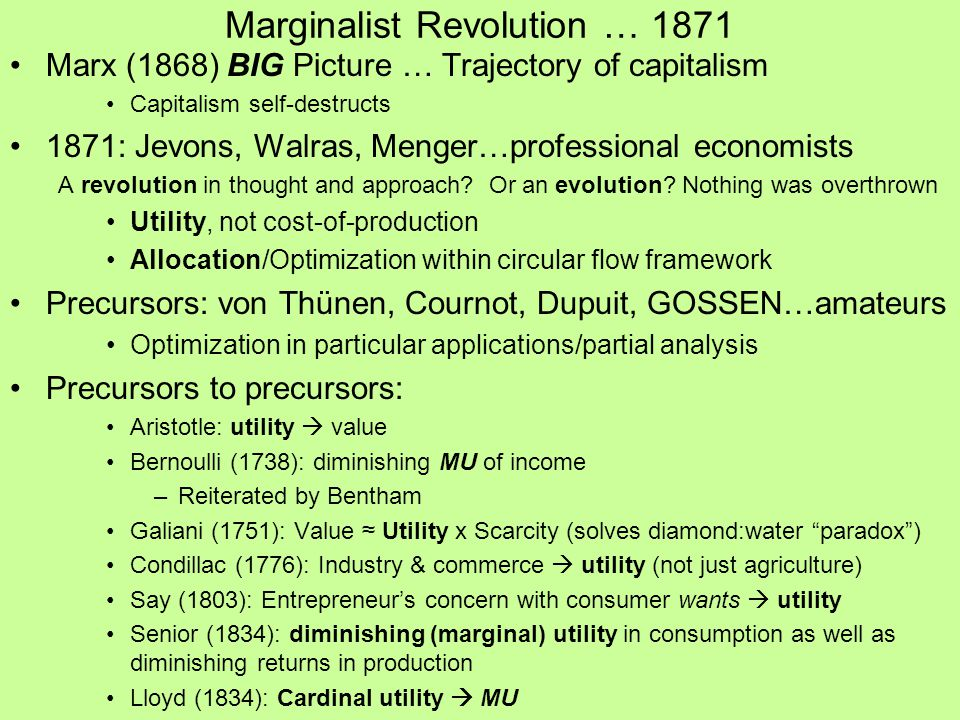 Marginalist Revolution … 1871 Marx (1868) BIG Picture … Trajectory of capitalism Capitalism self-destructs 1871: Jevons, Walras, Menger…professional economists A revolution in thought and approach.