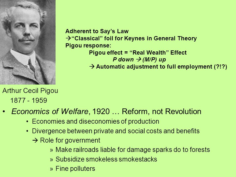 Arthur Cecil Pigou 1877 - 1959 Economics of Welfare, 1920 … Reform, not Revolution Economies and diseconomies of production Divergence between private and social costs and benefits  Role for government »Make railroads liable for damage sparks do to forests »Subsidize smokeless smokestacks »Fine polluters Adherent to Say's Law  Classical foil for Keynes in General Theory Pigou response: Pigou effect = Real Wealth Effect P down  (M/P) up  Automatic adjustment to full employment ( ! )