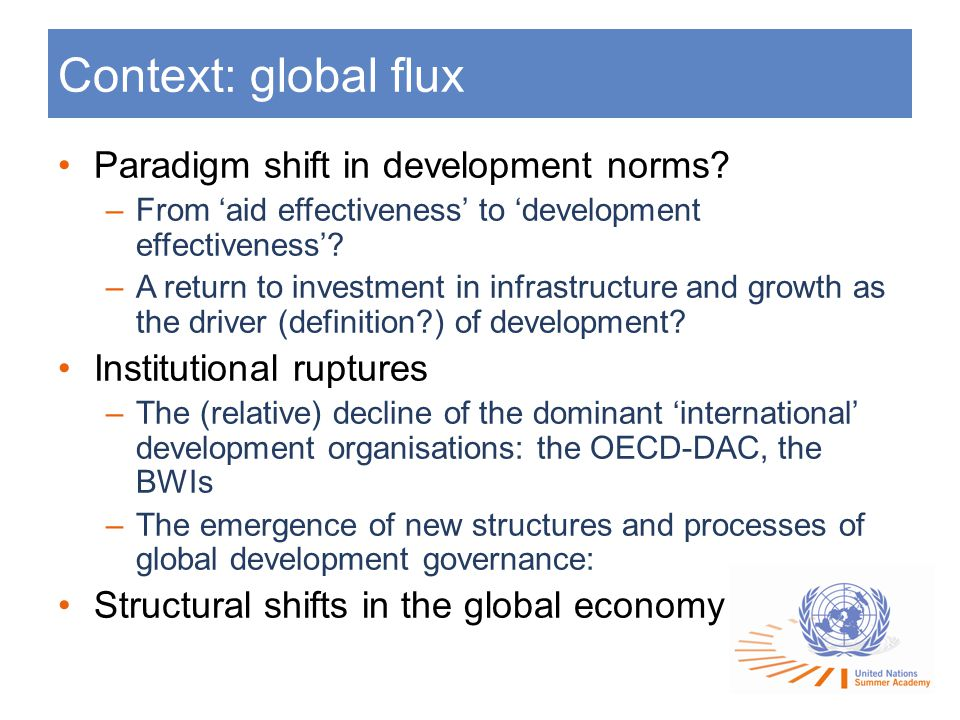 Context: global flux Paradigm shift in development norms.