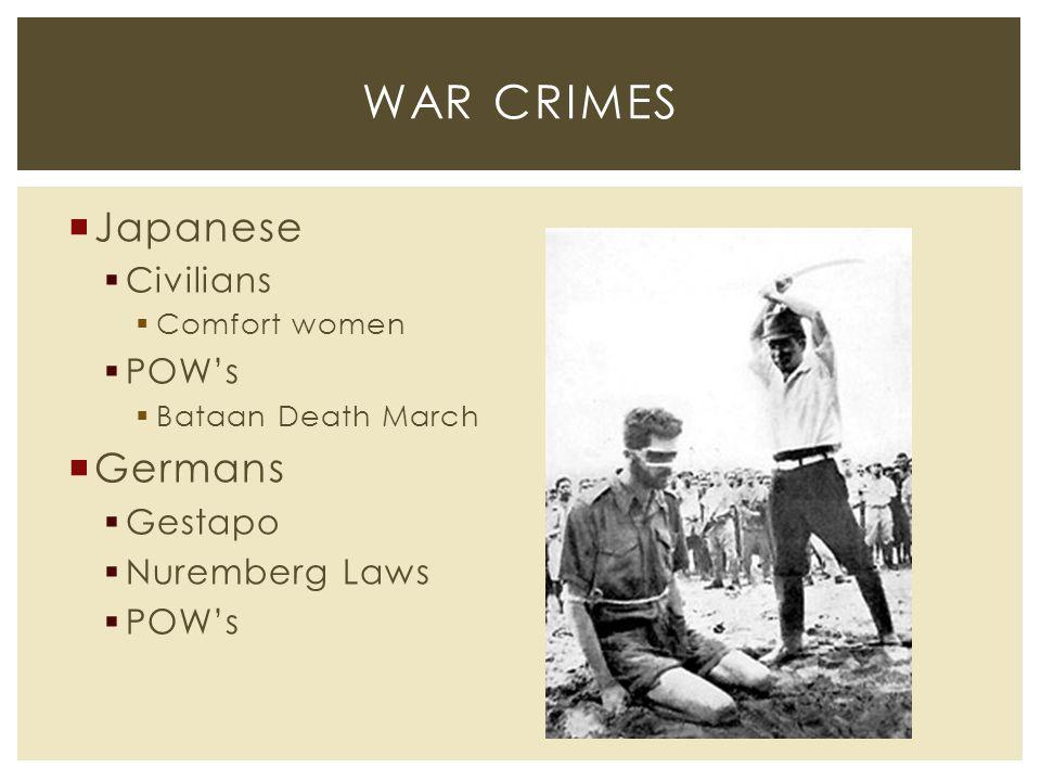  Japanese  Civilians  Comfort women  POW's  Bataan Death March  Germans  Gestapo  Nuremberg Laws  POW's WAR CRIMES